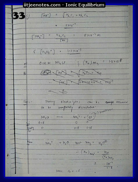 Ionic Equilibrium Notes IITJEE 1