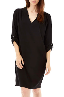 Wallis Black Woven V Neck Tunic