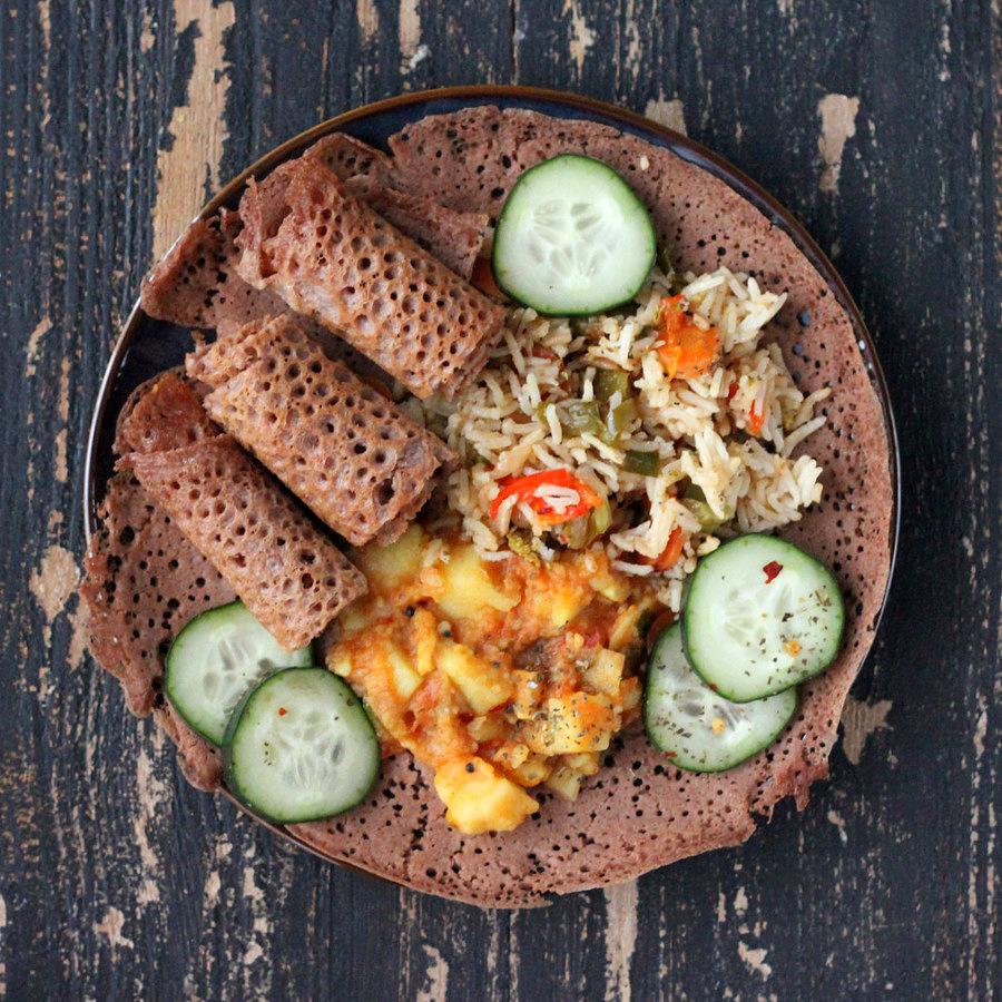 Ethiopian Injera 100 Teff Flatbread Vegan Glutenfree Recipe Vegan Richa