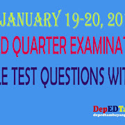 NEW! Third Quarter Examination Test Questions with TOS for Grades 1-6 (all subjects)