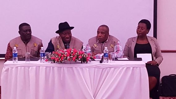 Photos: Former President Jonathan meets with other AU election observers for Zambia election