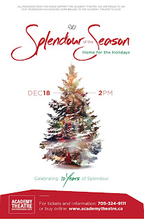 image Kawartha Lakes December 2016 event poster Triple Threat 10th Annual Production Splendour of the Season;Home for the Holidays featuring a Christmas Tree