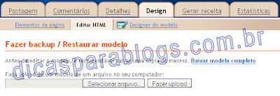 editar html do blogspot