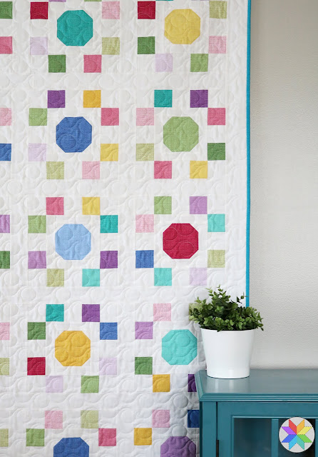 "Spot On quilt pattern - a pattern in four sizes perfect for using precut 10"" squares.  Pattern by Andy of A Bright Corner"