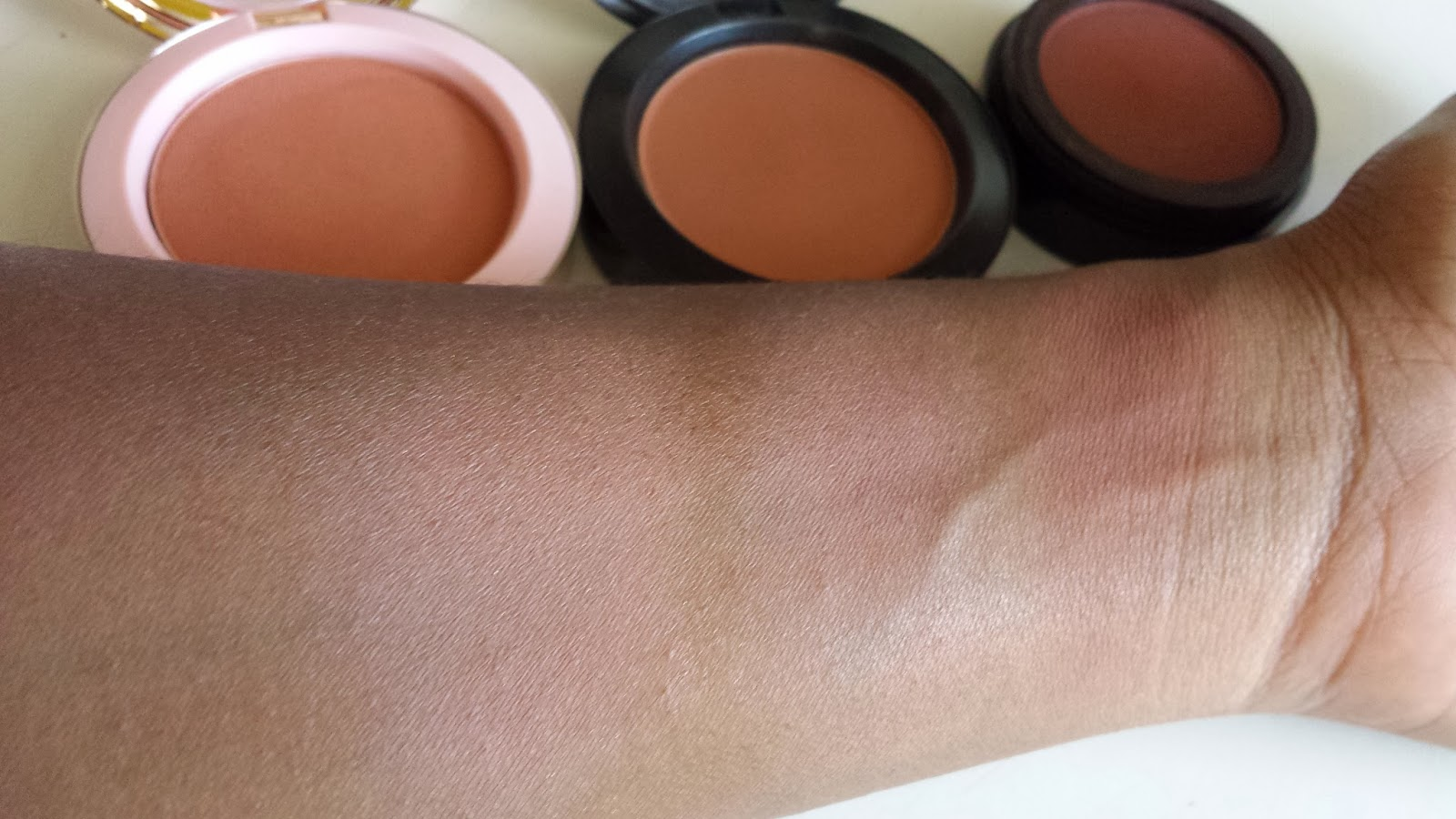 Nude blush swatch comparison - www.modenmakeup.com