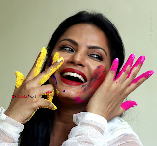 Bollywood Actress and Producer Neetu Chandra Special Po Shoot Gallery in a Dry Holi Celetion  0021.JPG
