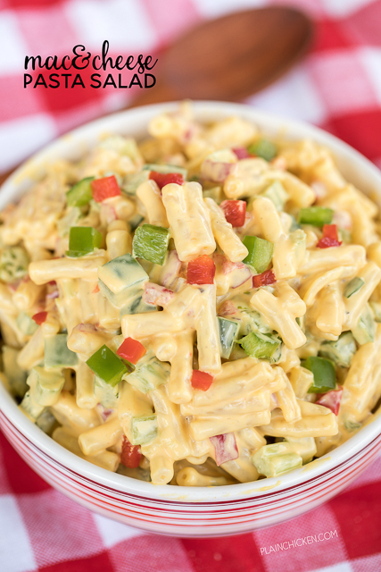 Mac & Cheese Pasta Salad - transform a box of mac & cheese into the most delicious pasta salad EVER!!! Mac and Cheese mix, mayonnaise, celery, green bell pepper, green onions and pimentos. Seriously delicious! I took this to a potluck and everyone gobbled it up. Nobody could believe that it started with a blue box of mac & cheese! Give this a try ASAP!
