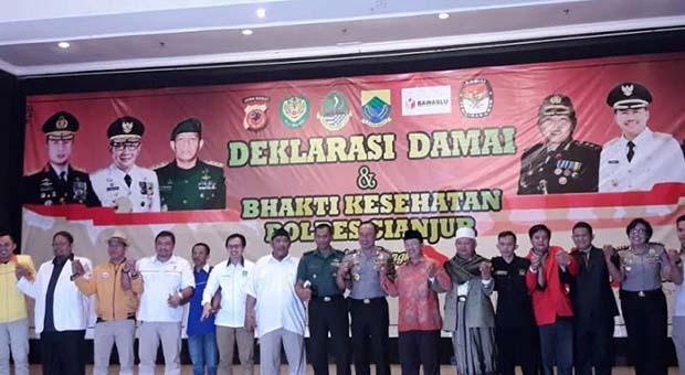 Kapolda Jabar Pimpin Deklarasi Damai Pemilu 2019 di Cianjur