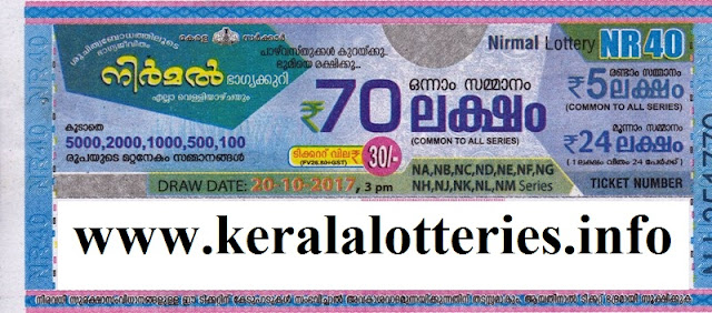 Nirmal (NR-40) Kerala Lottery on October 20, 2017