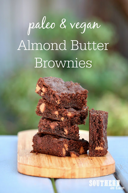 Paleo and Vegan Almond Butter Brownies Recipe - gluten free, vegan, paleo, egg free, dairy free, sugar free, healthy, clean eating dessert recipe, flourless, grain free recipes