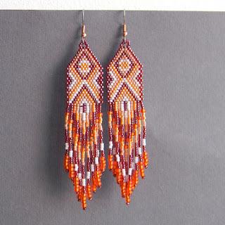 Купить длинные серьги из бисера. Купить украшения из бисера в интернет-магазине. Этническая бижутерия.