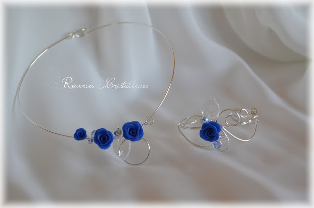 parure bijoux mariée argent et bleu