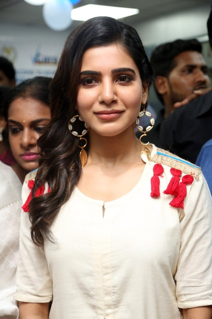 Beautiful Hyderabadi Model Samantha launches v Care Clinic In White Dress