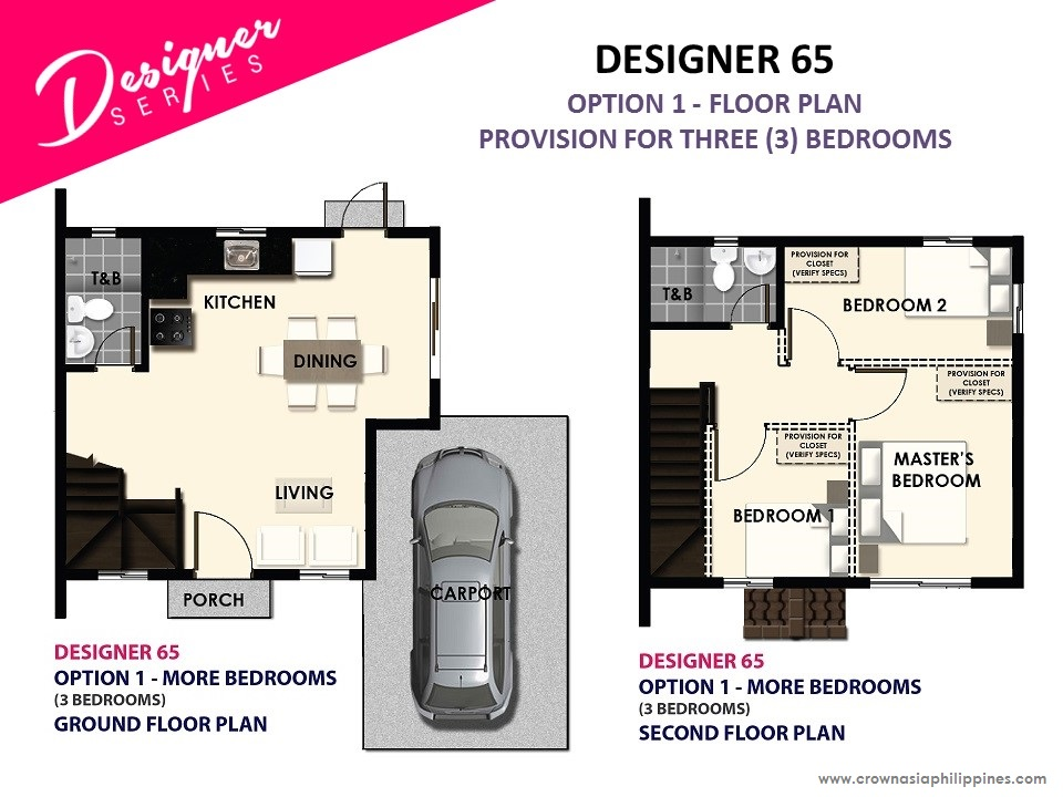 Option 1 - Floor Plan of Citta Italia - Designer 65 With Balcony | House and Lot for Sale Molino Bacoor Cavite