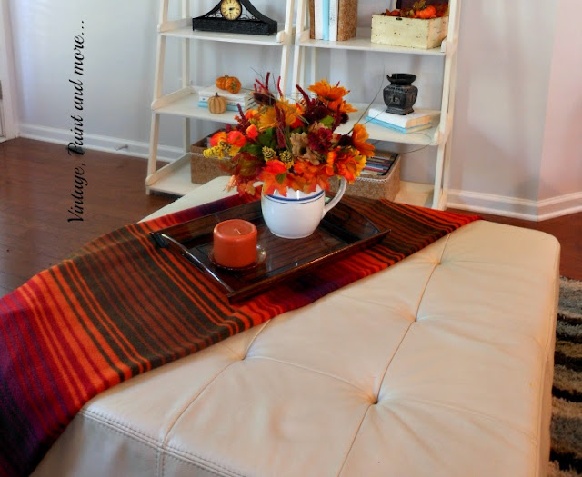 Vintage, Paint and more... a simple fall vignette is done with faux fall flowers and a vintage pitcher