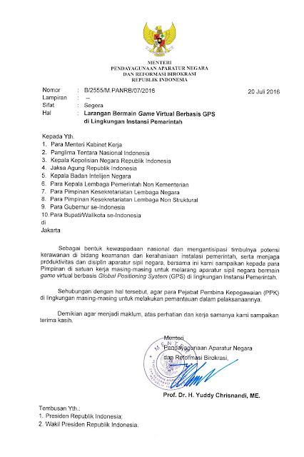 Surat Edaran Menpan RB Tentang Larangan ASN Bermain Game Virtual Berbasis GPS di Lingkungan Instansi Pemerintah