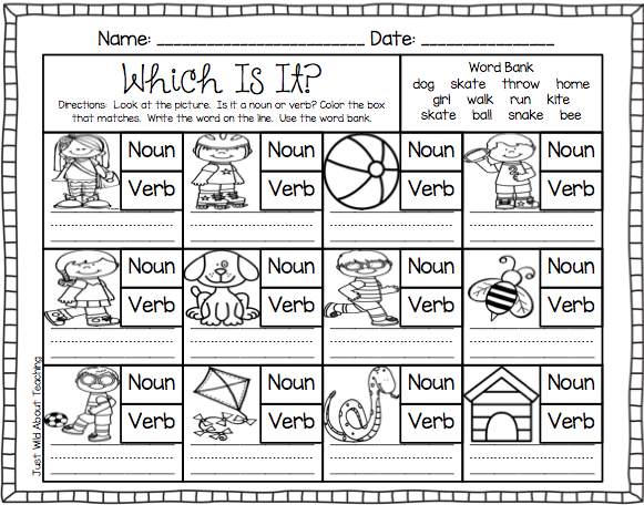 Just Wild About Teaching: Teach Me - Nouns and Verbs!