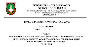 Lowongan Kerja Non PNS Dinas Kesehatan dan UPT Puskesmas Kota Surakarta