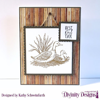 Divinity Designs Stamp Set: Best Dad Ever, Custom Dies: Scalloped Squares, Squares, Paper Collection: Weathered Wood