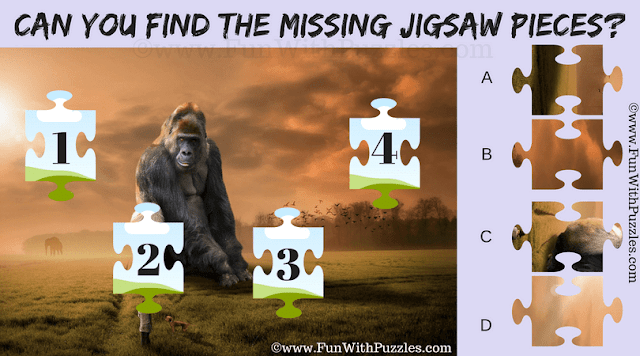 It is Jigsaw Missing Pieces puzzle in which one has to correct map the 4 missing pieces in the puzzle image