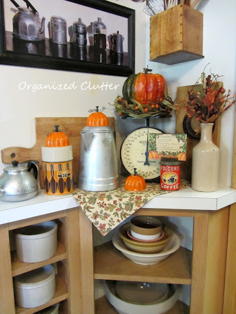 Fall Kitchen Vignette with Jello Mold Pumpkins