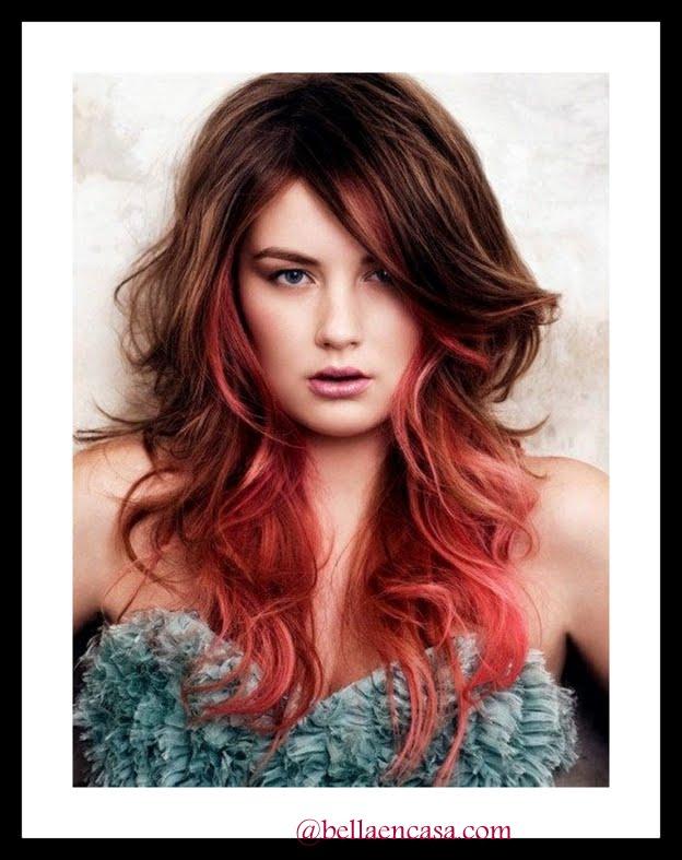 Mechas californianas en cabello corto y rojo