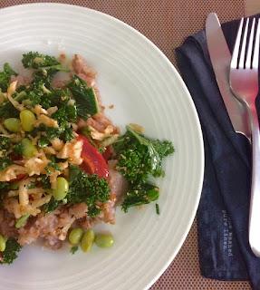 Kasha salad with sesame dressing