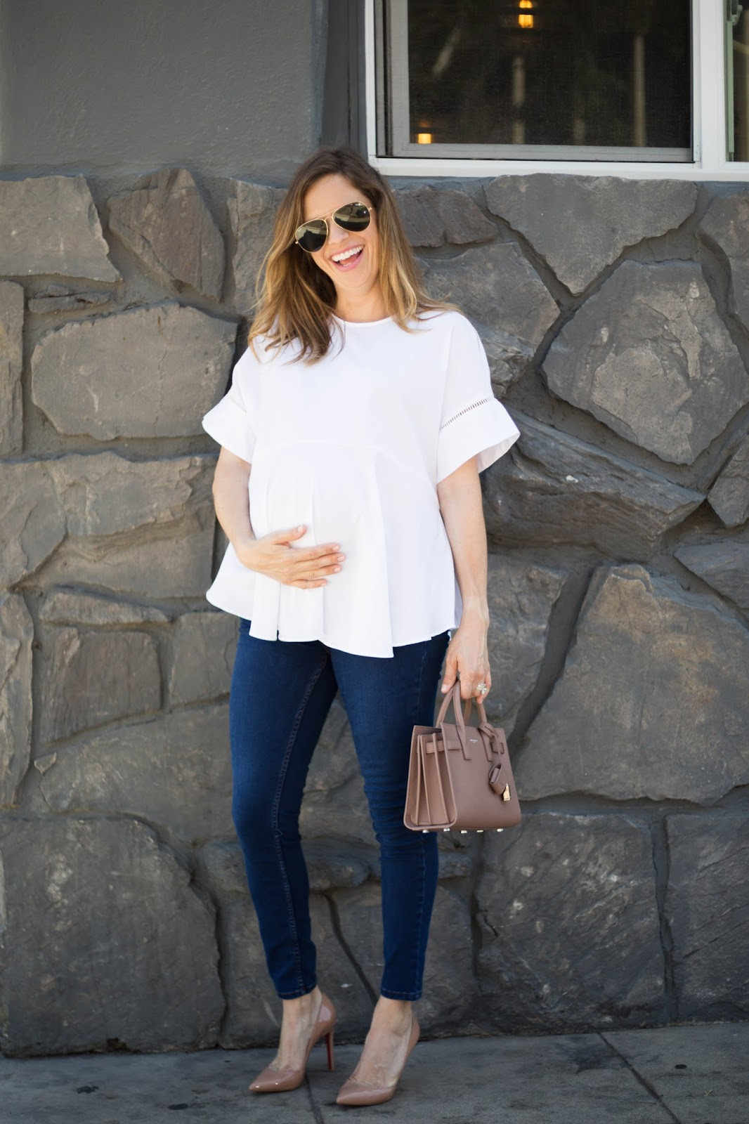 maternity top and skinny jeans