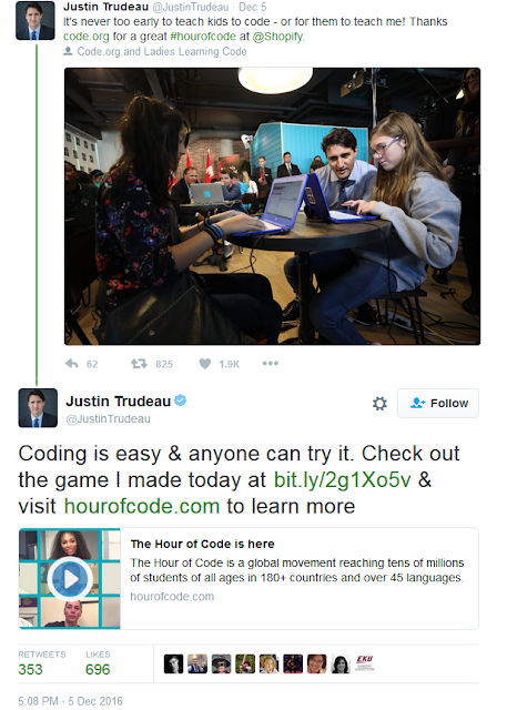 Justin Trudeau Hour of Code code.org hockey breakout twitter tweet