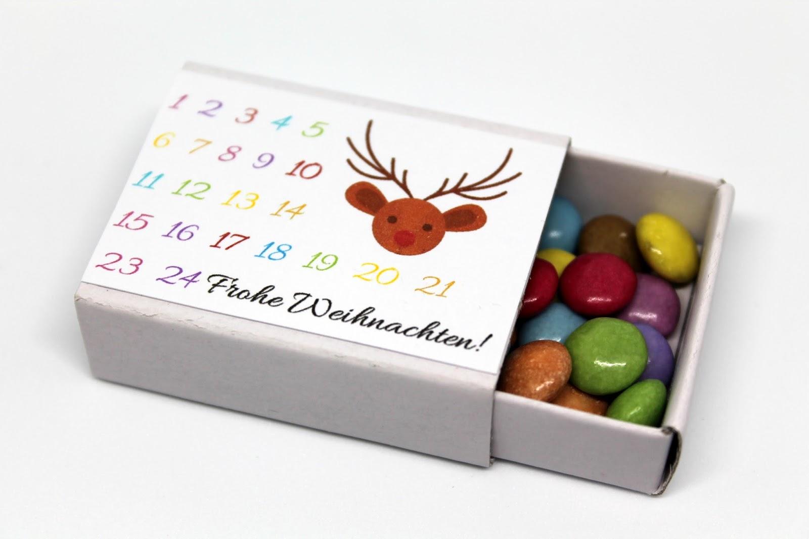 DIY, Basteln: Adventskalender in einer Streichholzschachtel in Weihnachtsgeschenke, Weihnachtsdekoration, Geschenkidee - DIYCarinchen