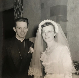 black and white photo of G. Warren Rigg Jr. and Ruth DeHaven on their wedding day in 1951