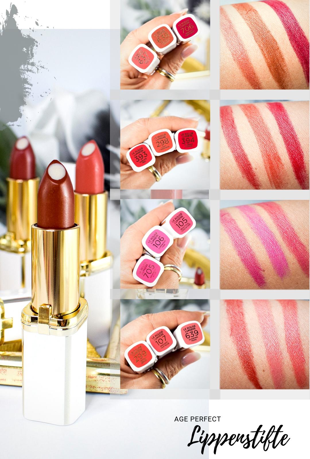 Übersicht und Test der L'Oréal Age Perfect Lippenstifte