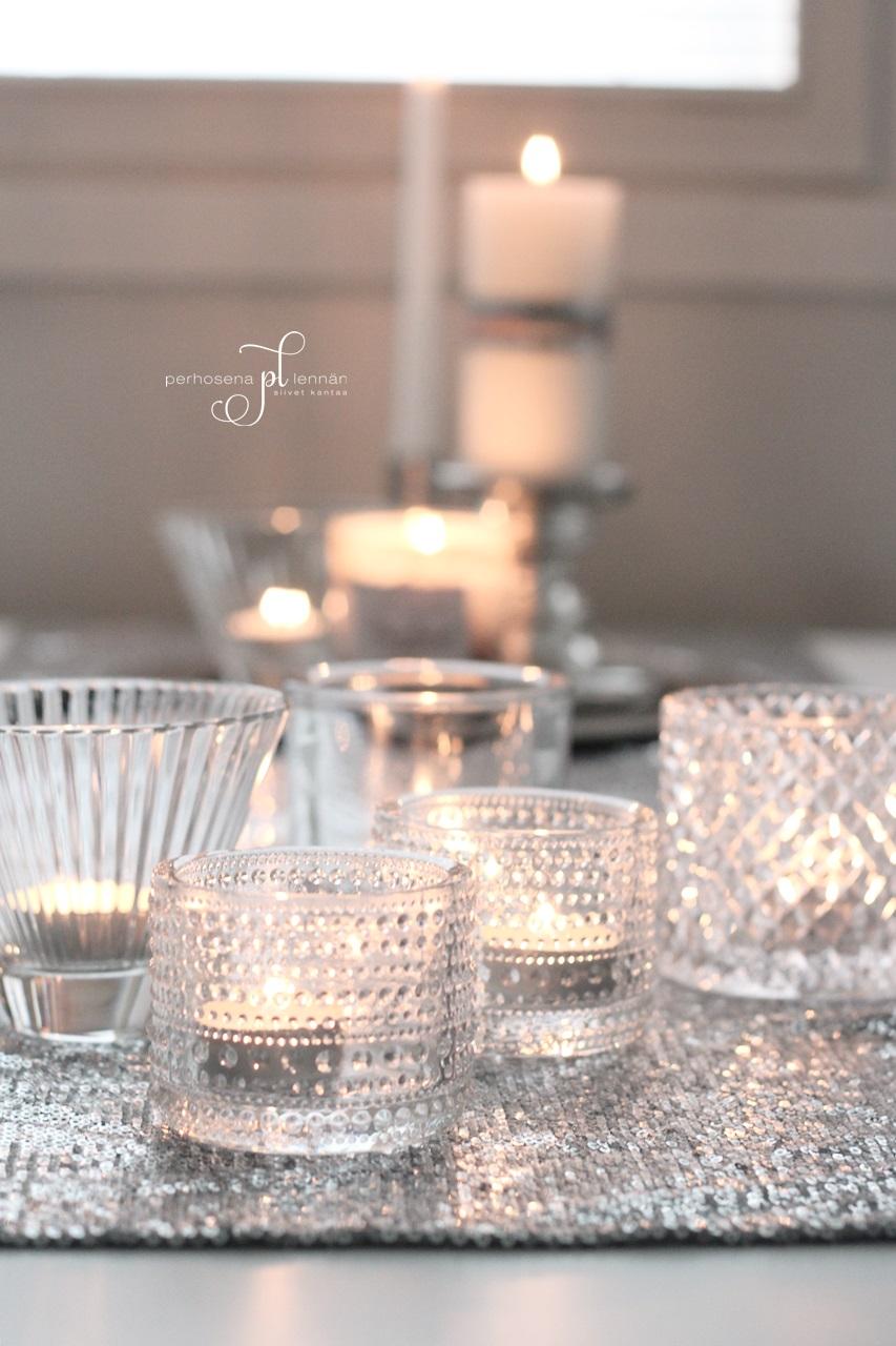 Iittala kastehelmi tuikku kynttilä candle tunnelmaa syksy hm home table runner