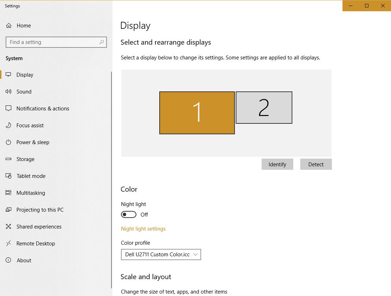 Windows 10 1803 update reset colour profile