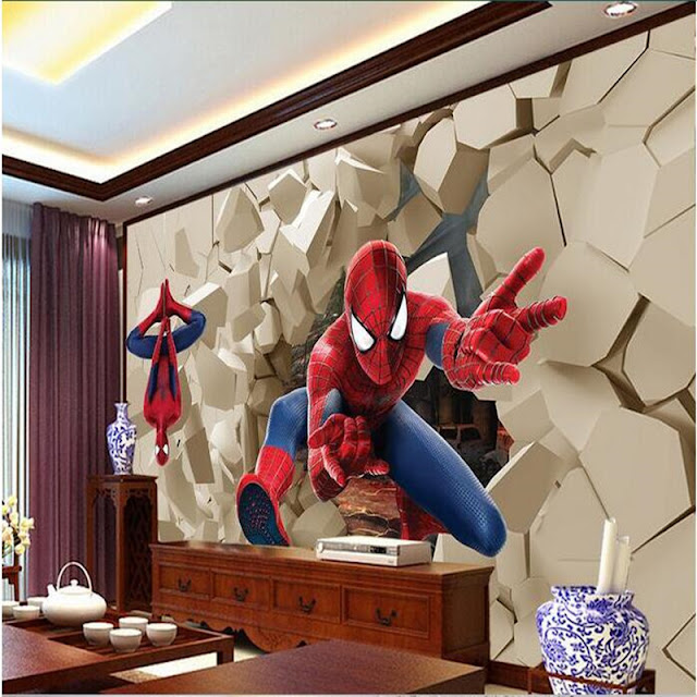 spiderman wall mural large 3d wallpaper children boys