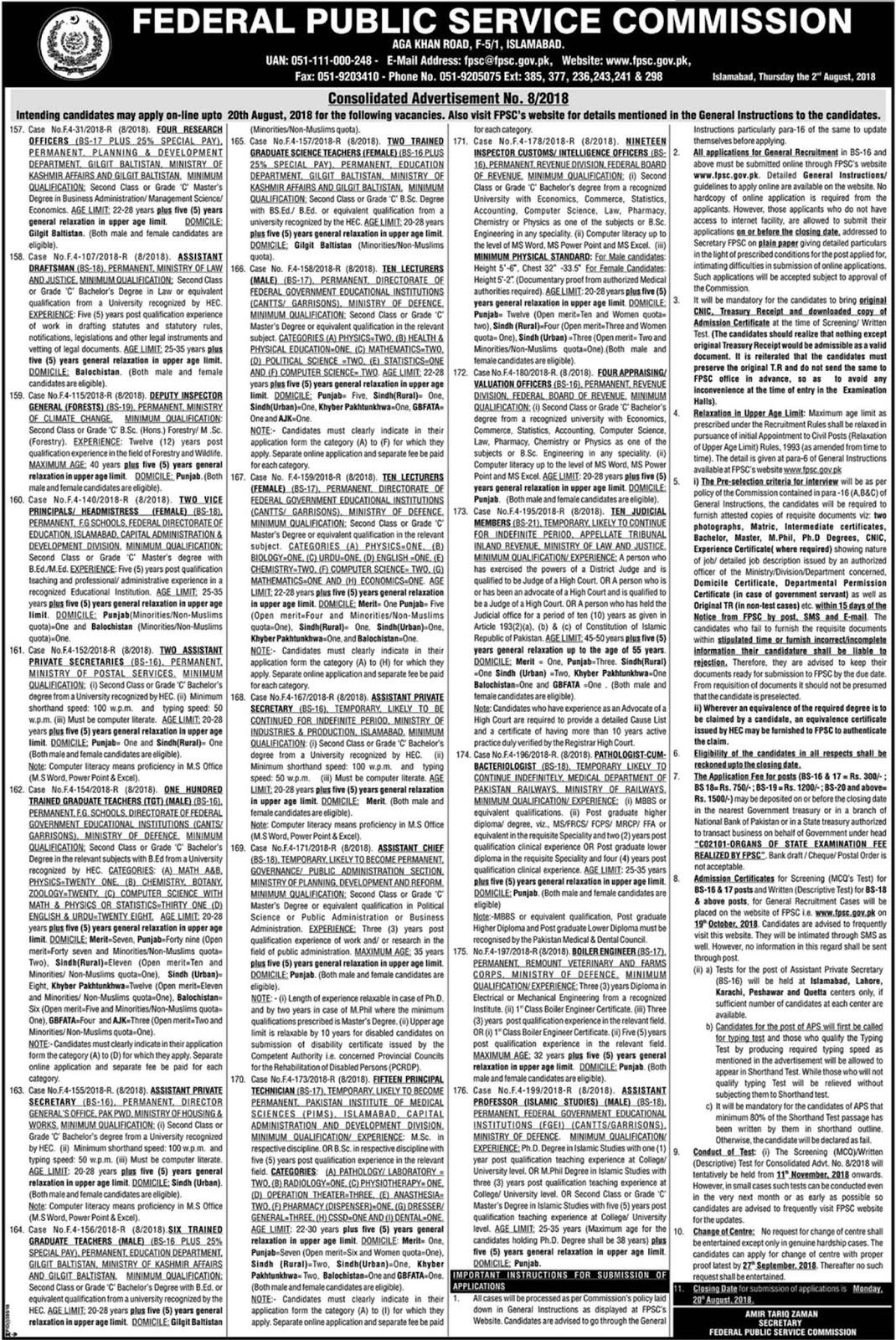 FPSC Federal Public Service Commission, Latest Jobs