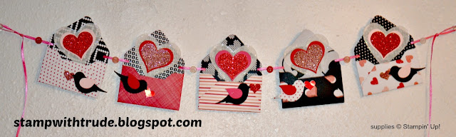 Stamp with Trude, Stampin' Up!, Valentine, Sweetheart Banner, envelope punch board, bird builder punch