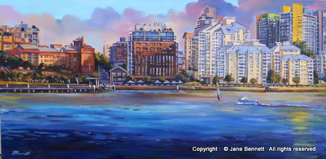 plein air oil painting of Jackson's Landing Pyrmont from White Bay Wharf by industrial heritage artist Jane Bennett