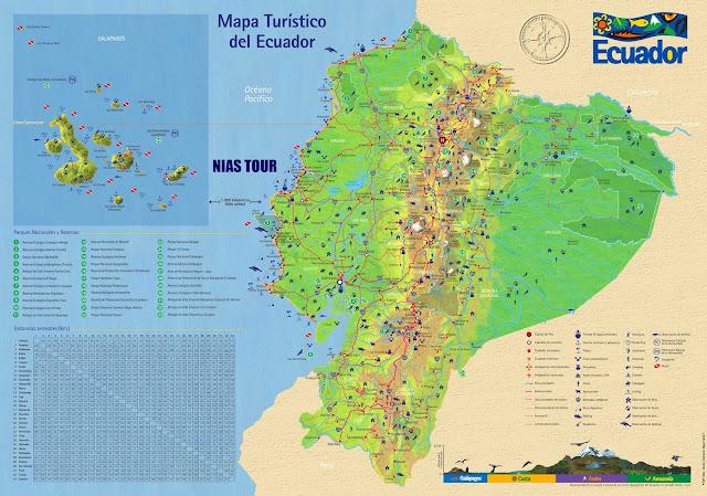 Mapa turístico do Equador