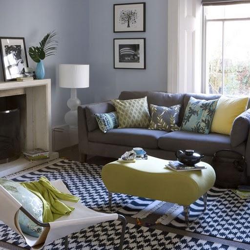 inspiring blue yellow gray living room | Oh My Daze!: Gorgeous Living Room Inspiration: Yellow ...