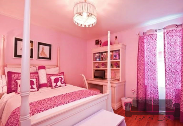غرف نوم وردي