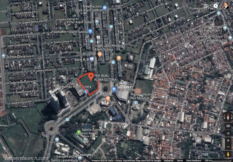 Peta Lokasi Apartemen The Burj Alam Sutera