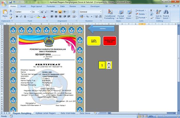 Aplikasi Piagam Penghargaan Prestasi Siswa dengan Microsoft Excel