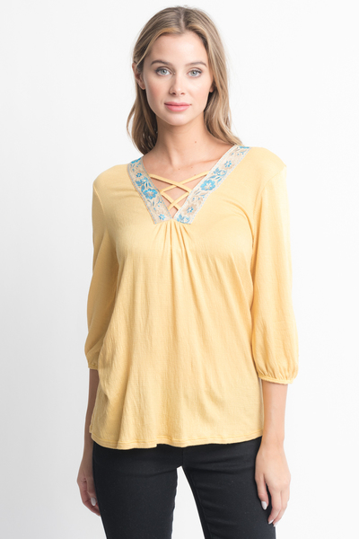 Shop for Pink Cross Front Yellow Blouse -Criss Cross Front Floral Trim Elastic Cuff Top on caralase.com