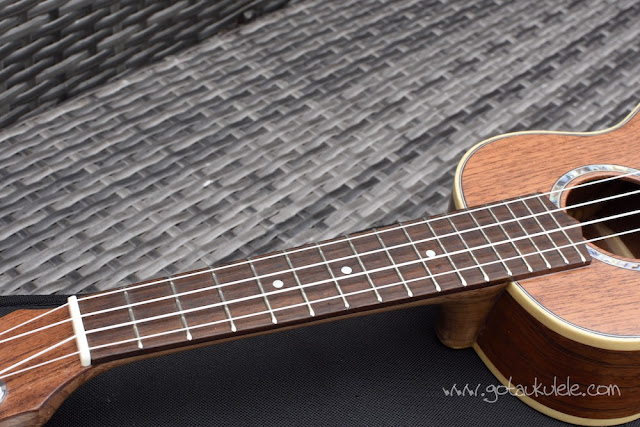 Noah Mahogany Soprano Ukulele fingerboard
