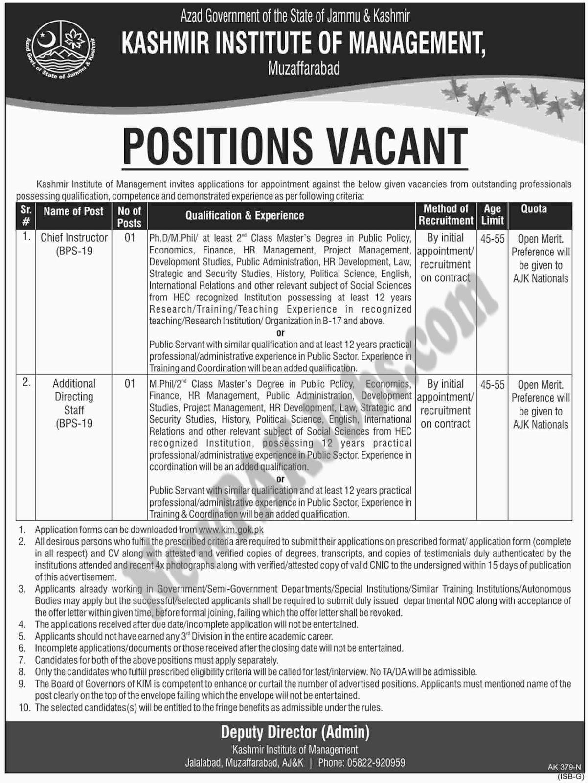 Latest Fresh Jobs Advertisement in AJK Kashmir Institute of Management, www.kim.gok.pk