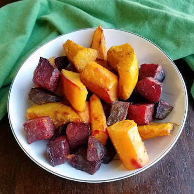 colorful roasted veggies in serving bowl
