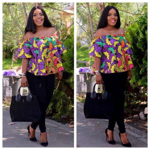 off-shoulder ankara top to wedding