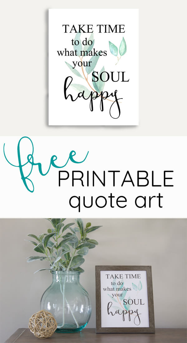 Watercolor quote on black and wood entertainment center. Take time to do what makes your soul happy.