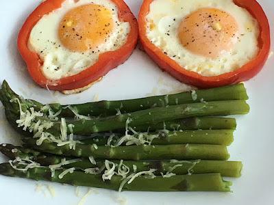 Zielone szparagi z jajkiem sadzonym